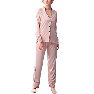 Sexy Womens DeepHomewear Set Fashion Korean Style Fashionable Ladies Nightwear Pijamas Set Faux Pink Set M