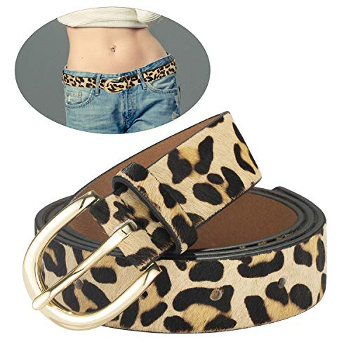 (Leopard Print Women's leather Belt Cheetah Beige Waistband with Gold buckle for jeans/Casual pants (Cheetah Print, XS:(27''-33'')))
