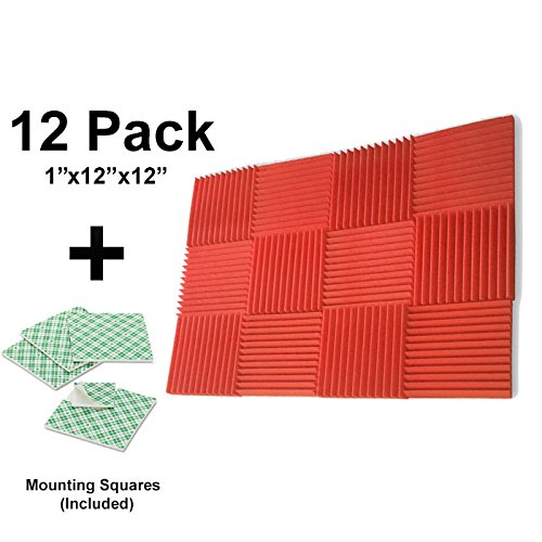 12-pk-1x12x12-red-soundproofing-foam-acoustic-tiles-studio-foam-sound-wedges-with-24-double-sided-ad