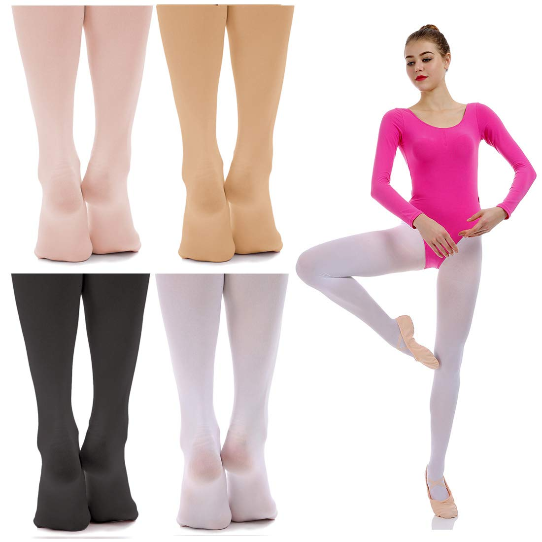 iMucci Ballet Dance Tights Convertible and Full Footed Ballerina Dancing Stockings /…