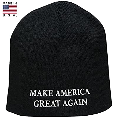 Made in USA, Donald Trump Make American Great Again Embroidered Short Knit Beanie