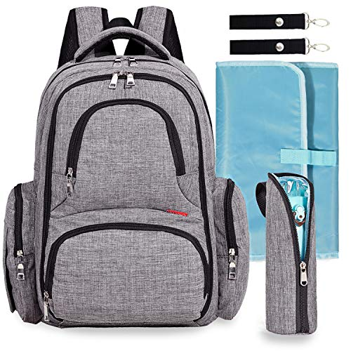 Big Sale - Baby Diaper Bag Waterproof Travel Diaper Backpack with Changing Pad and Stroller Clips (Gray)