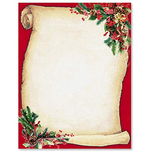 Christmas Scroll Holiday Letterhead, 8.5 x 11, 100 Count (Christmas Art Letterhead)