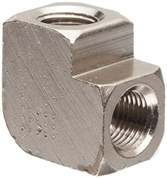 """Polyconn PC100NB-2 Nickel Plated Brass Pipe Fitting, 90 Degree Elbow, 1/8"""" NPT Female (Pack of 10)"""