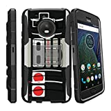 MINITURTLE Case Compatible w/ [Clip Armor] Exclusive Design Case for [Motorola Moto E4 | E 4th Gen XT1768 2017 ] Hard Shell Case w/ BuiltIn Stand and Holster Game Controller Retro