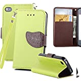 Apple 4 Case,iPhone 4S Case, 4S Cover Wallet Case,Wild Wolf Foliage Motifs iPhone Colorful Wallet Design Magnetic PU Leather Stand Case Card Holder (green, IPHONE 4/4S)