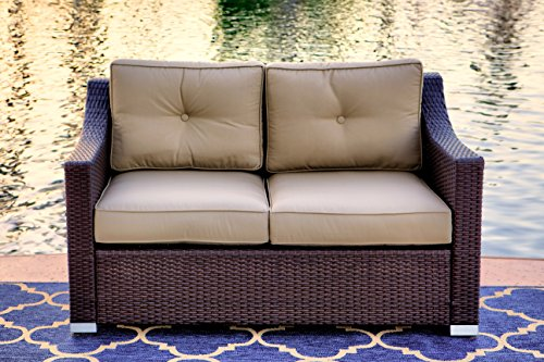 American Patio – Modern Outdoor Loveseat Easy Care All Weather Wicker, Espresso, 32.28″ x 55.12″ x 33.47″
