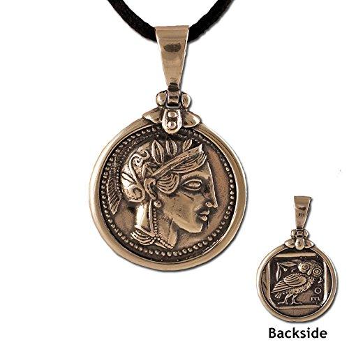 - Athena Tetradrachm Silver Coin Replica Sterling Silver Greek Pendant (26mm) w/ leather cord