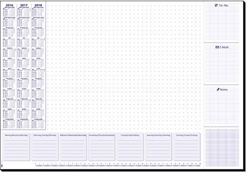 Sigel HO355 Papier-Schreibunterlage mit 3-Jahres-Kalender und Wochenplan, 59,5 x 41 cm, 30 Blatt
