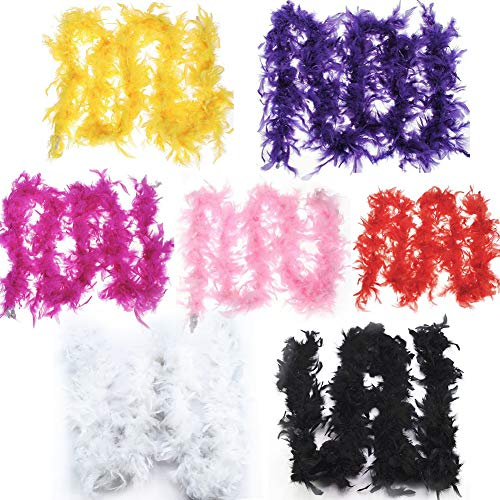 Feather Boas,2.18 Yard Feather Strips Party Craft Supplies Costume Fancy Dress Wedding Party Decoration(7 PCS) ()