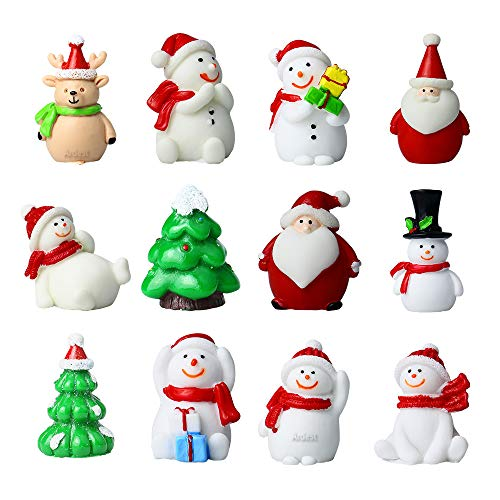 Terrific 3D Christmas Mini Ornaments DIY Snow Globes Miniature Christmas Figurines Set with 7 Snowman, 2 Santas, 2 Christams Tree and 1 Reindeer Figures for Small Craft Projects Christmas Game Pieces