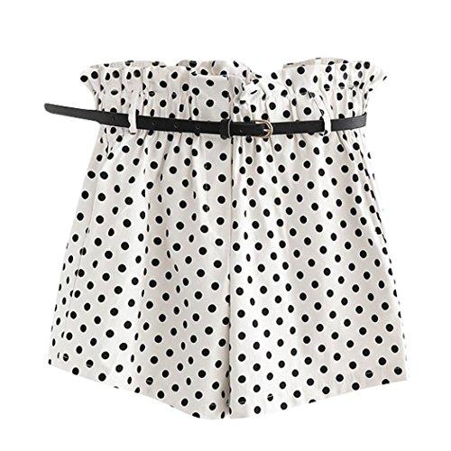 iHPH7 Shorts Women Retro Dot Print Casual Elastic Waist Pocket Pants with Belt ()