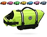 Image of Vivaglory Dog Life Jacket Size Adjustable Dog Lifesaver Safety Extra Bright Yellow Vest Pet Life Preserver, Extra Bright Yellow, Small