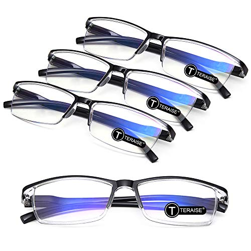 TERAISE 4PCS Fashion Anti-blue light Reading Glasses Men Women Computer Reader(0.0X)
