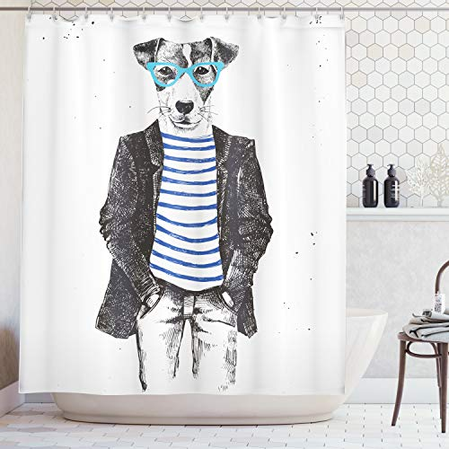Ambesonne Quirky Decor Shower Curtain by, Dressed Up Hipster Dog with Glasses Hand Drawn Sketchy Fashion Animal, Fabric Bathroom Decor Set with Hooks, 70 Inches, Black White Blue]()
