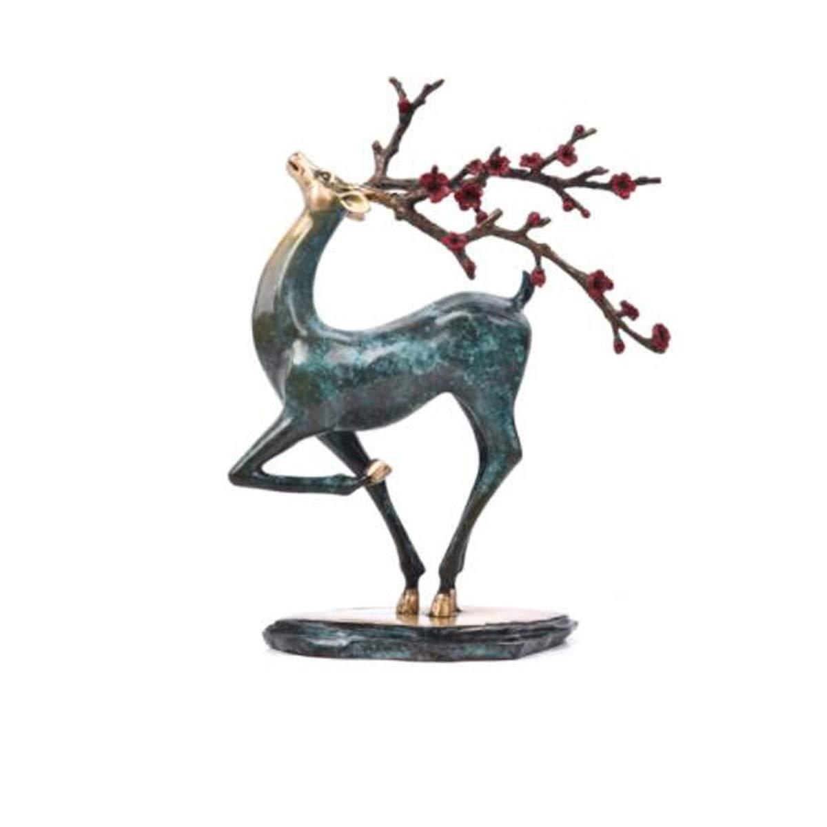 XIONGHAIZI 陶磁器の装飾品、純粋な銅のニホンジカの装飾品、新しい中国の家の居間の装飾、創造的な芸術および工芸品、オフィススタディの銅の家具、幸運を開くこと、新築祝いの贈り物、ギフトボックス (Color : Blue1) B07T4YBMX9 Blue1