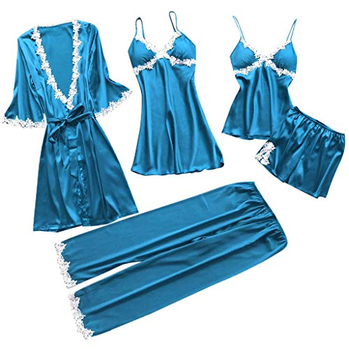 ZoePets Women's Silky Pajamas Satin 5 Piece Robe Sets Lace Up Nightgown Camisole Shorts Sleewear Set Long Pants Sets(Dark Blue,XXXL