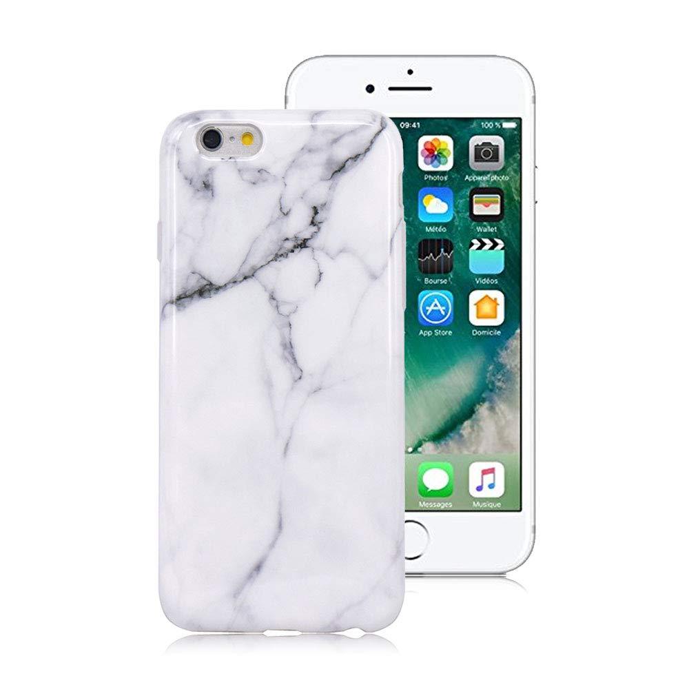 Blanc Gris Coque iPhone 8/7 Premium Marbre Motif Souple Silicone ...