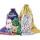 Amosfun Christmas Drawstring Gift Bags 30pcs Assorted Christmas Gift Wrapping Bags Upgraded Christmas Goodie Bags for Birthday Christmas Party: more info