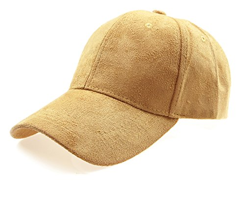 RufnTop Classic Faux Leather Suede Adjustable Plain Baseball Cap(Dark Beige OS)