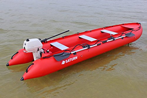 Saturn 15 ft KaBoat SK470 Inflatable Boat and Inflatable Kayak Crossover - Red. Dinghy Tender Raft Inflatable Motor Speed Boat. Narrow fast boat.