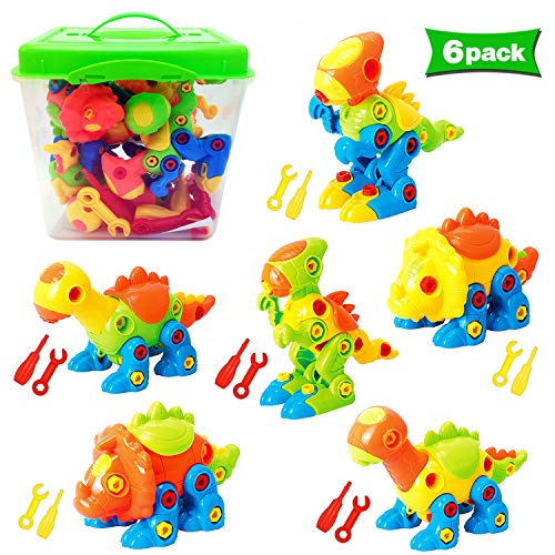 Dinosaur Toys Take Apart Toys With Tools (218 pieces) – Pack of 6 Dinosaurs With 12 Tools And a Beautiful Container – Stem Toys for Boys & Girls Age 3 – 12 years old