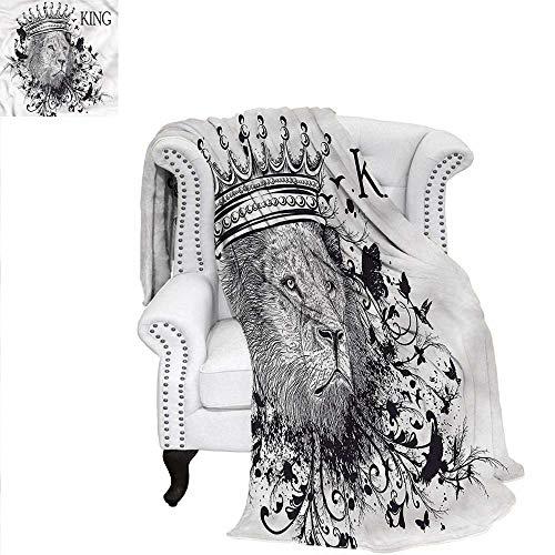 RenteriaDecor King Blanket Reign of The Jungle Lion Oversized Travel Throw Cover Blanket 70