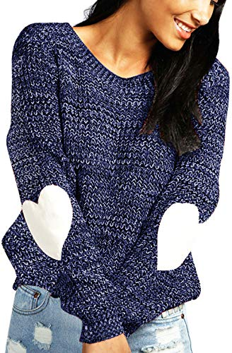 Round Neck Sweater Knit - shermie Women's cute Heart Pattern Patchwork Long Sleeve Round Neck Knits Sweater Pullover Navy M