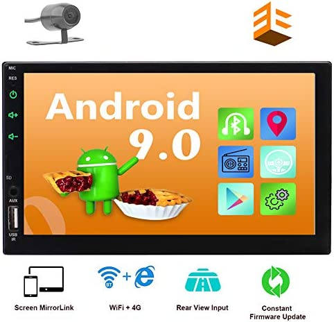 EINCAR Android 9.0 2 Din Car Stereo with GPS Navigation in Dash Head Unit Bluetooth 4.0 7 Capacitive Touchscreen Rear View Camera Included Quad Core WiFi 4G FM AM RDS Radio Remote Controller