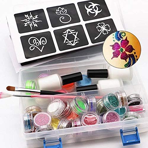 Linker Wish Face Paint Stencils Tattoo Face Body Paint Set 118 Tattoo Patterns 6 Color Luminous Powder 24 Color Flash Powder Paint Brush and Glue Glowing Paint]()