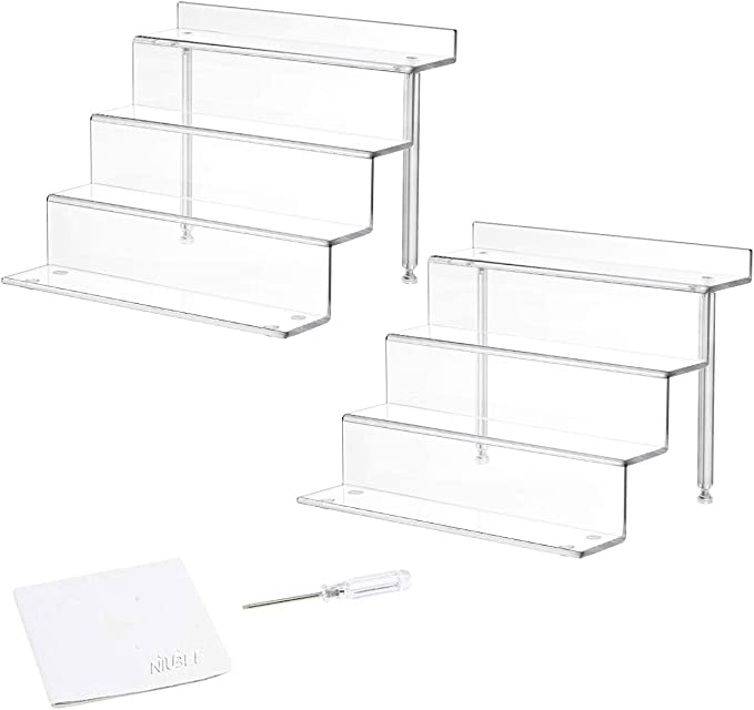 Amazon Com Niubee 2 Pack Acrylic Riser Display Shelf For Amiibo Funko Pop Figures Cupcakes Stand For Cabinet Countertops Clear Small Home Kitchen