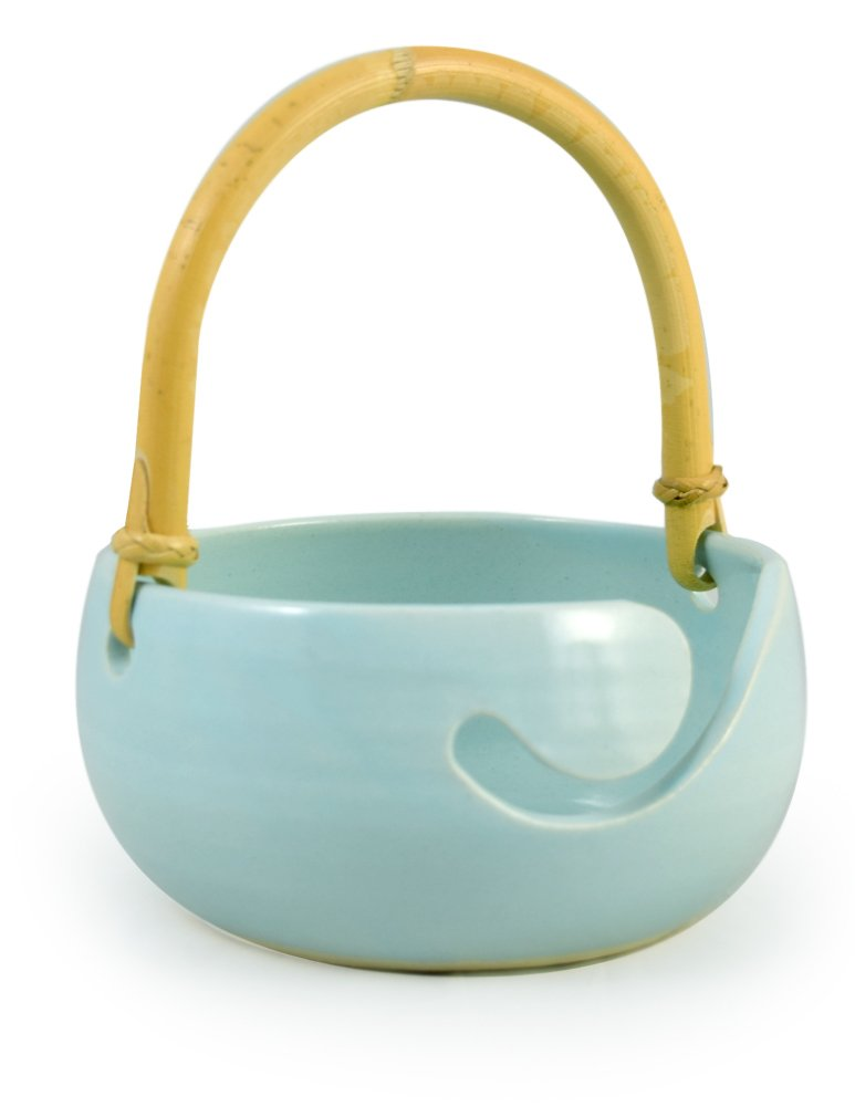 American-Made Ceramic Stoneware Knitting Bowl with Bamboo Handle (Robin's Egg Blue)