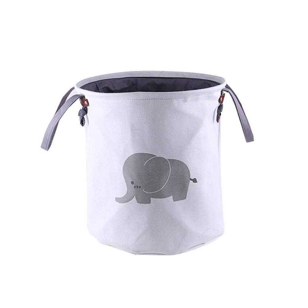 RoseSummer Cartoon Animal CanvasLaundry Hamper Portable Clothes Storage Basket (Elephant)