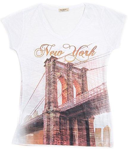 Sweet Gisele New York T-Shirt Featuring Brooklyn Bridge with Rhinestones