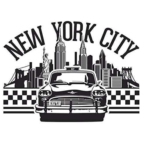 - New York City Skyline and Taxi Chequer (Size W9.7 x H7.3 Centimeter) Car Motorcycle Bicycle Skateboard Laptop Luggage Vinyl Sticker Graffiti Decal Bumper Sticker