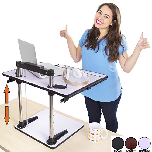 The UpTrak Metro Standing Desk & Bonus Keyboard Tray [Discontinued] | Sit-to-Stand Desk Converter by Award-Winning Stand Steady | Spring-Assisted LIFT! Height Adjustable Sit Stand Desk! (Shimmer) by Stand Steady