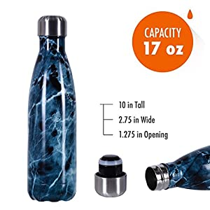 500ml Water Bottle, Liveup SPORTS 17oz Double Wall Vacuum Insulated Stainless Steel Water Bottle Cup with Black Portable Bag Perfect for Outdoor Sports Camping Hiking Cycling Picnic (Blue Agate)