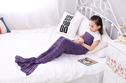 Mermaid Tail Blanket, MAXCHANGE Handmade High Density Thick Mermaid Blanket, Soft and Warm for All Seasons, A Sweet Gift for Kids and Girlfriends