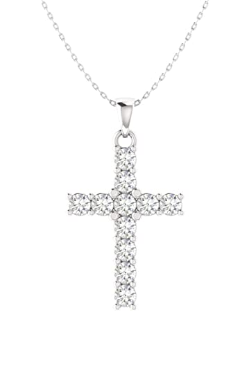 fcfd2b92368275 Amazon.com: Diamondere Natural and Certified Diamond Cross Petite Necklace  in 14k White Gold   0.24 Carat Pendant with Silver Chain: Jewelry