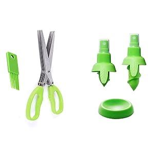 3 Pcs Creative Lemon Juice Sprayer, Citrus Sprayer Orange Fruit Mist Gadget Sprayer PLUS Multipurpose Kitchen Shear Herb Scissors with 5 Blades