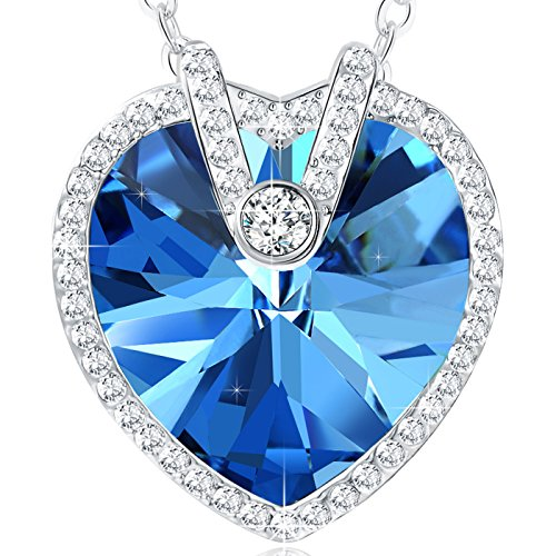 Valentines Day Gifts for Women NEEMODA Blue Crystal Heart Pendant Necklace for Women Fashion Jewelry Gifts for Her Birthday Anniversary Valentines Day White Gold Plated