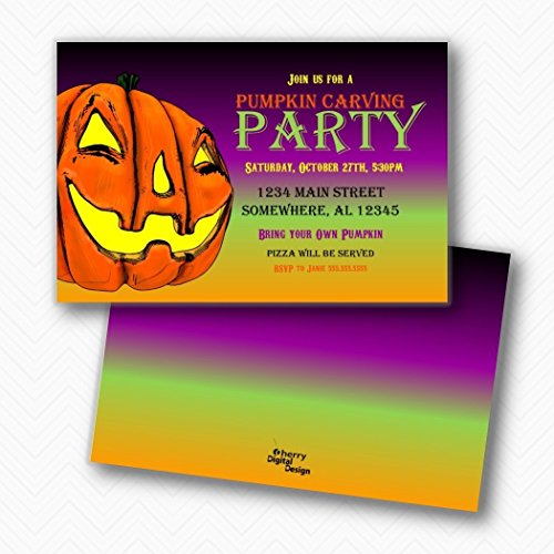 Jack-o-lantern Pumpkin Carving Party Halloween | Envelopes Included -