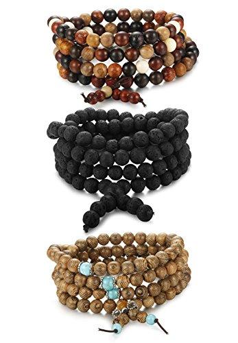 ORAZIO 8MM Beads Bracelet for Men and Women 108 Buddhist Prayer Sandalwood Lava Rock Stone Necklace Elastic by ORAZIO