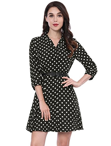 (Allegra K Women's Polka Dots 3/4 Sleeves Belted Shirt Dress XS Black)