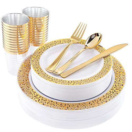 WDF 150 Gold Disposable Plates & Plastic Silverware &Plastic Cups, Lace Dinnerware : 25 Dinner Plates 10.25 inch, 25 Dessert Plates 7.5 inch, 25 Tumblers 10 oZ, 25 Forks, 25 Knives, 25 Spoons