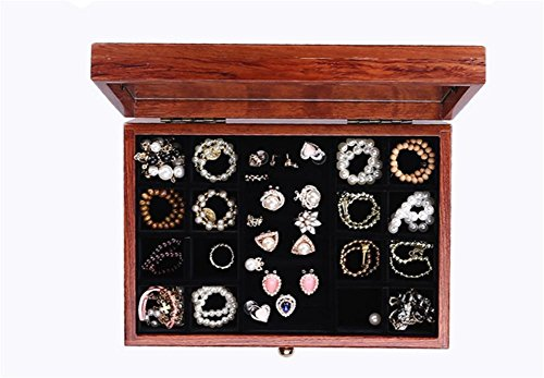 LUCKYYAN Retro fine Emboss Solid Wood Jewelry Box Necklace Storage Box Multifunctional Storage Box for Wedding Birthday Gifts , 2# by LUCKYYAN (Image #4)
