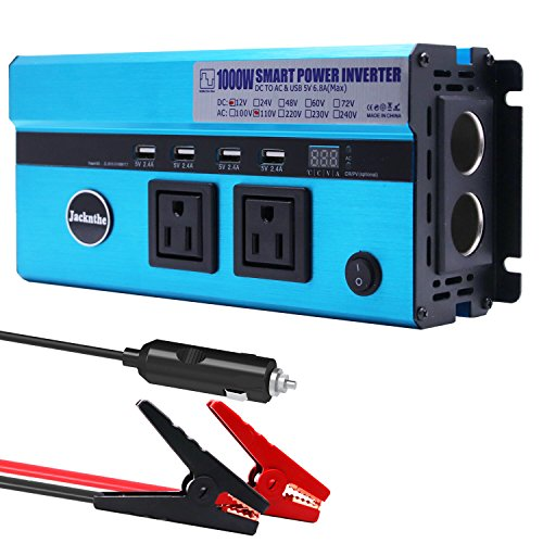 1000W Car Power Inverter DC 12V to AC 110V Converter with 2 Cigarette Lighter Sockets and Digital Display 2 AC Outlets and 4 USB Charging ports for Laptops, Tablets and other Electronics Devices by Jacknthe