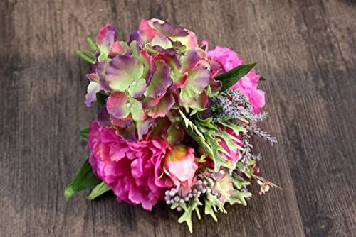 Glumes Artificial Flowers 6 Bouquet Pink Peony Fake Flower Silk Lifelike Home Wedding Decoration1 Pcs