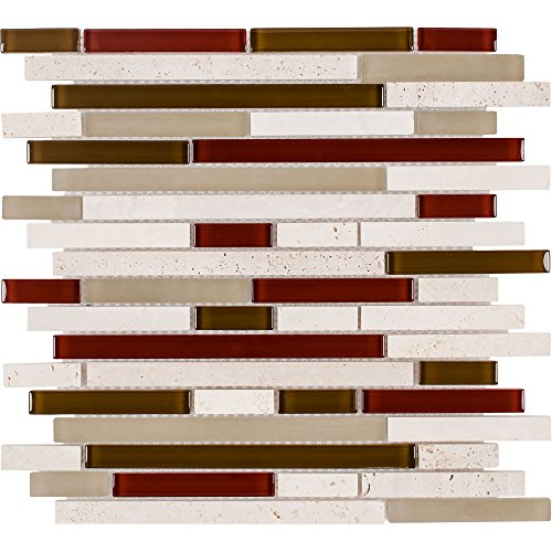 MTO0266 | Classic Linear Beige Red White Glass Stone Mosaic Tile