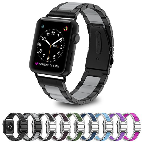 Greeninsync Apple Watch Bands Metal, Special Edition Fashion Stainless Steel Wristbands Buckle Clasp Watch Strap Replacement Bracelet W/ Silicone Cover Gray for Apple Watch Series 3/2/1 42mm (01 Fashion Watch)